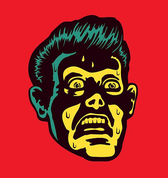 ヴィンテージの男性におびえる顔の表情になるよう心をかむ - 恐怖点のイラスト素材/クリップアート素材/マンガ素材/アイコン素材