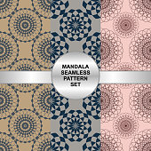 Vintage mandala seamless pattern set