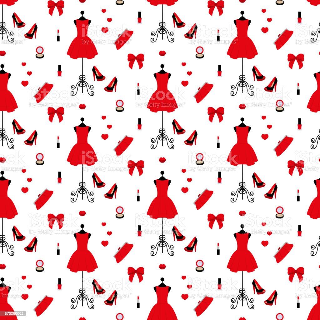 vintage schaufensterpuppe in einem roten kleid stöckelschuhe clutchtasche  puder lippenstift nagellack nahtlose muster stock vektor art und mehr  bilder