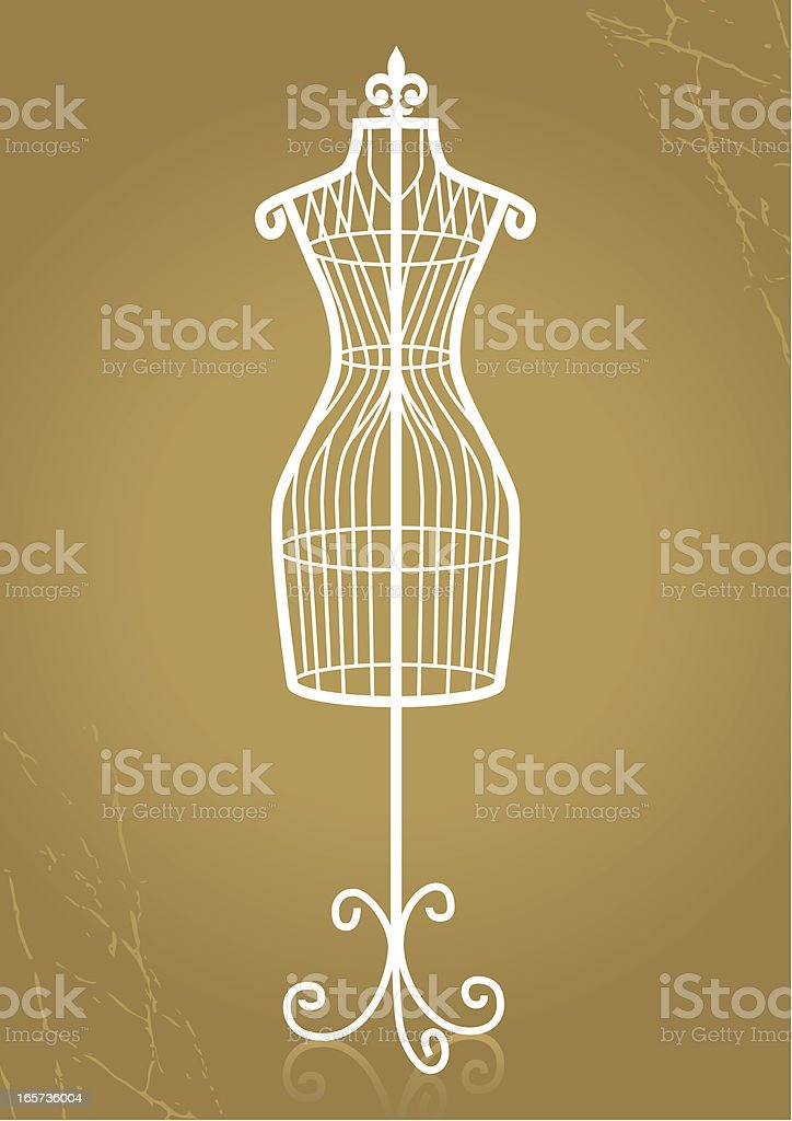 Vintage mannequin made of white wire royalty-free stock vector art
