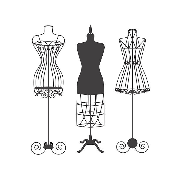 vintage mannequin or dummies black silhouette vector - butik stock illustrations