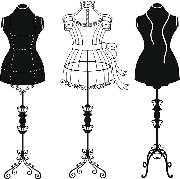 vintage kleiderpuppe - couture stock-grafiken, -clipart, -cartoons und -symbole