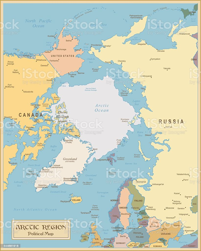 Nordpolarmeer Karte.Klassisch Karte Der Nördlichen Regionillustration Stock Vektor Art