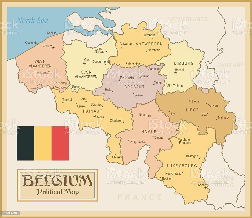 Vintage Carte De Belgique Vecteurs libres de droits et ...