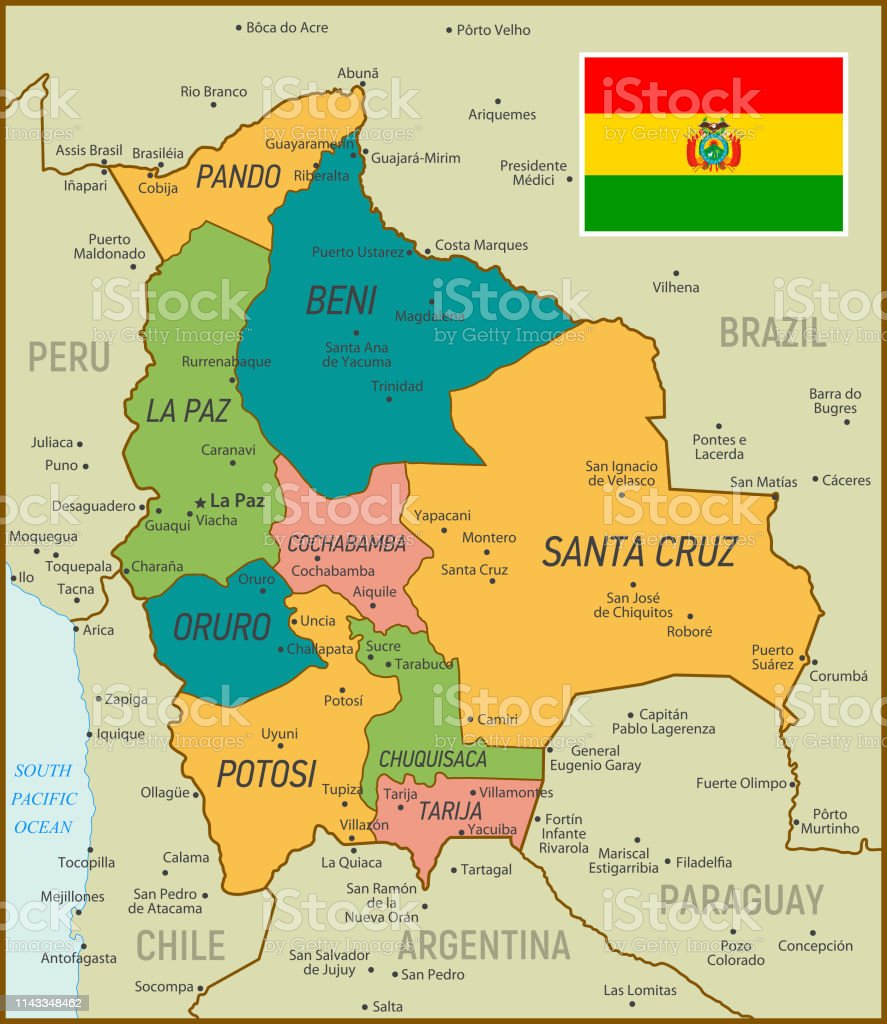 Vintage Map Of Bolivia Vector Illustration Stock ...