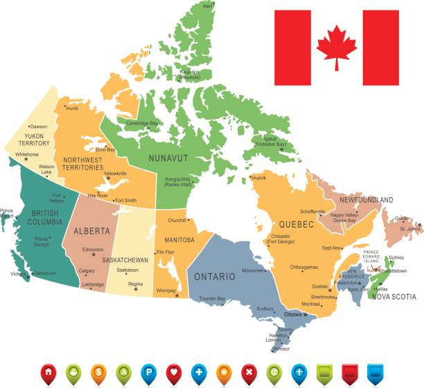 Vintage Map of Canada Vector Vintage Map of Canada with borders, cities and national flag.All elements are separated in editable layers quebec stock illustrations
