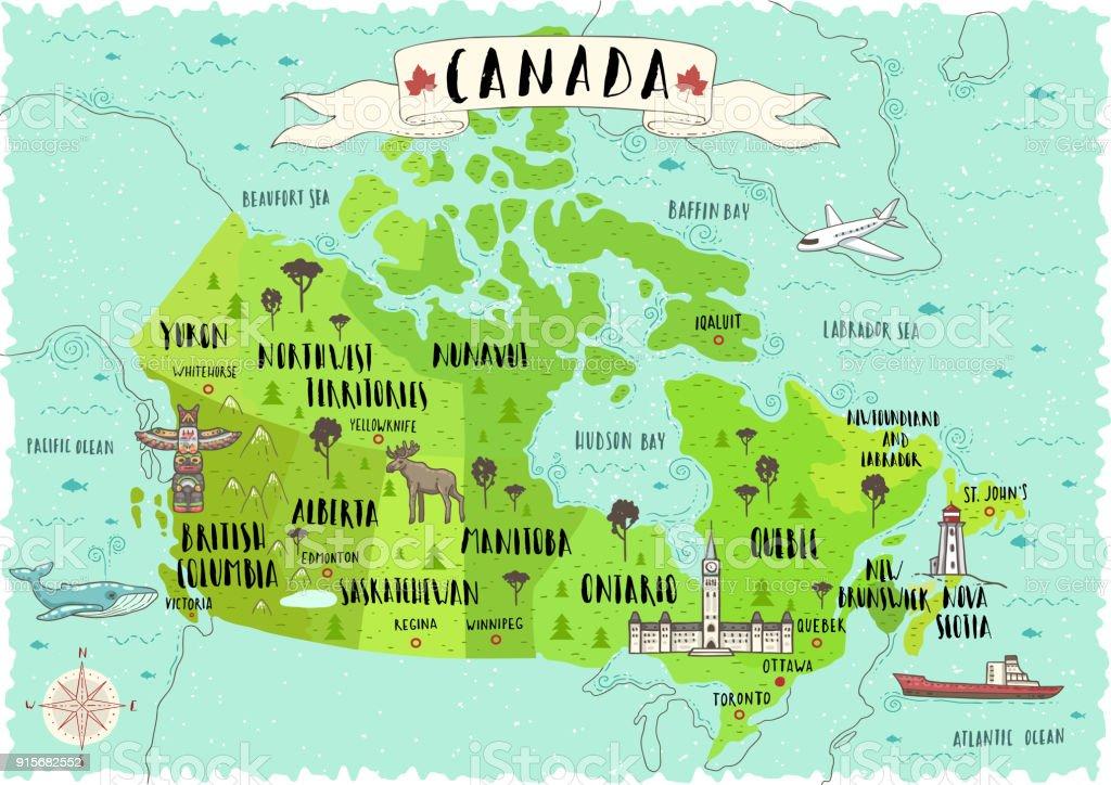 Vintage Karte Von Kanada Mit Flagge Sehr Detaillierte ...
