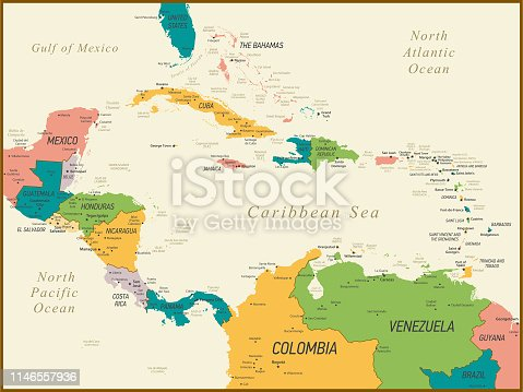 Central America and The Caribbean Map with Geographical Borders