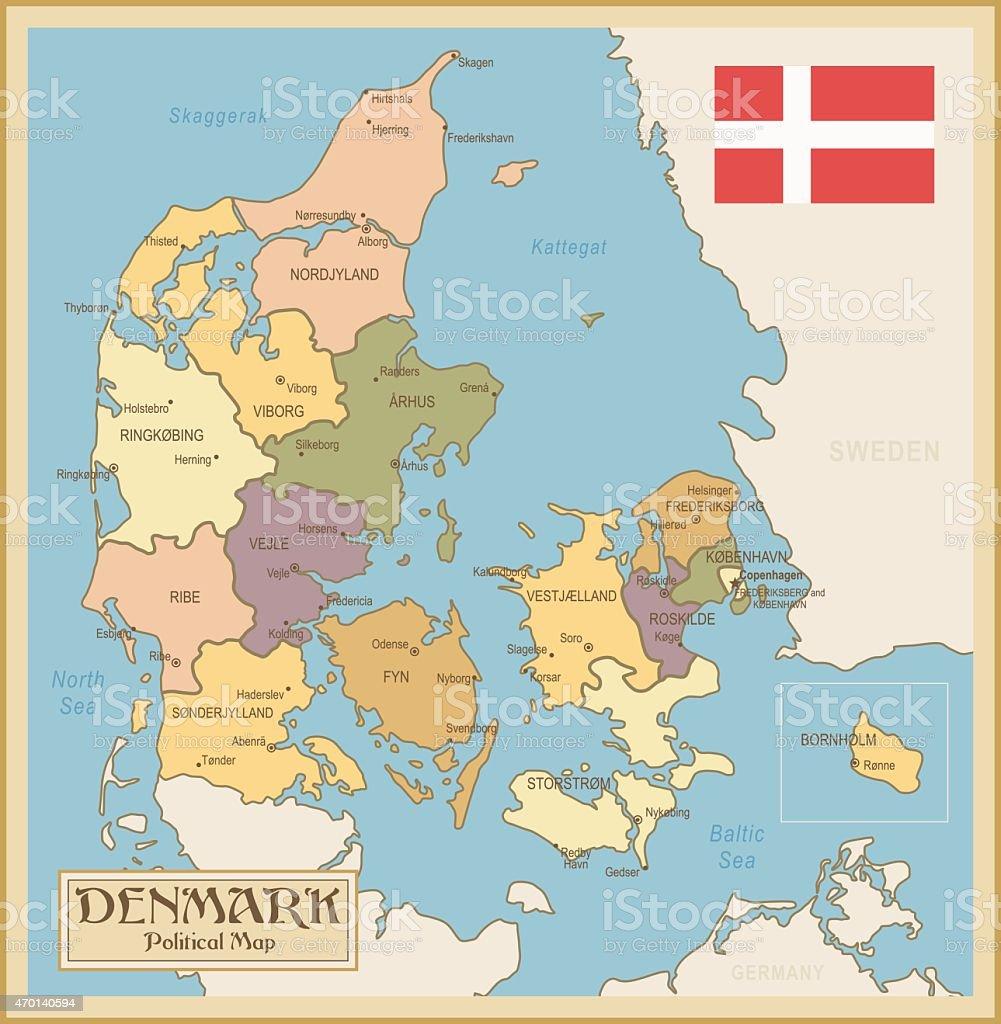 Vintage Map of Denmark vector art illustration