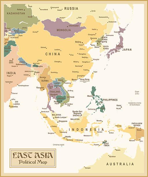 ヴィンテージの地図 east asia - アジア地図点のイラスト素材/クリップアート素材/マンガ素材/アイコン素材