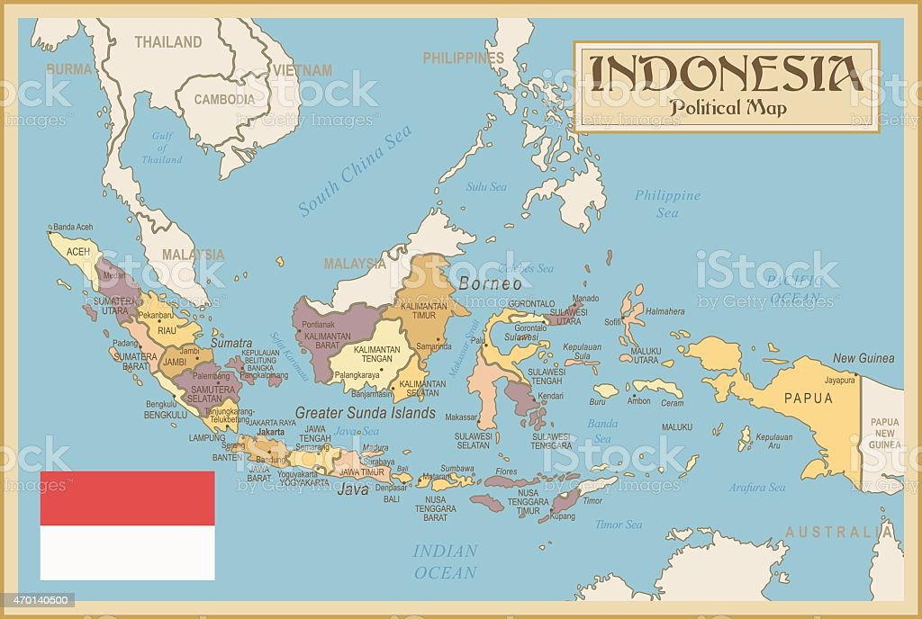 Vintage Map Of Indonesia Stock Illustration Download Image Now