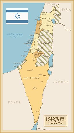 Israel - Retro Vector Map