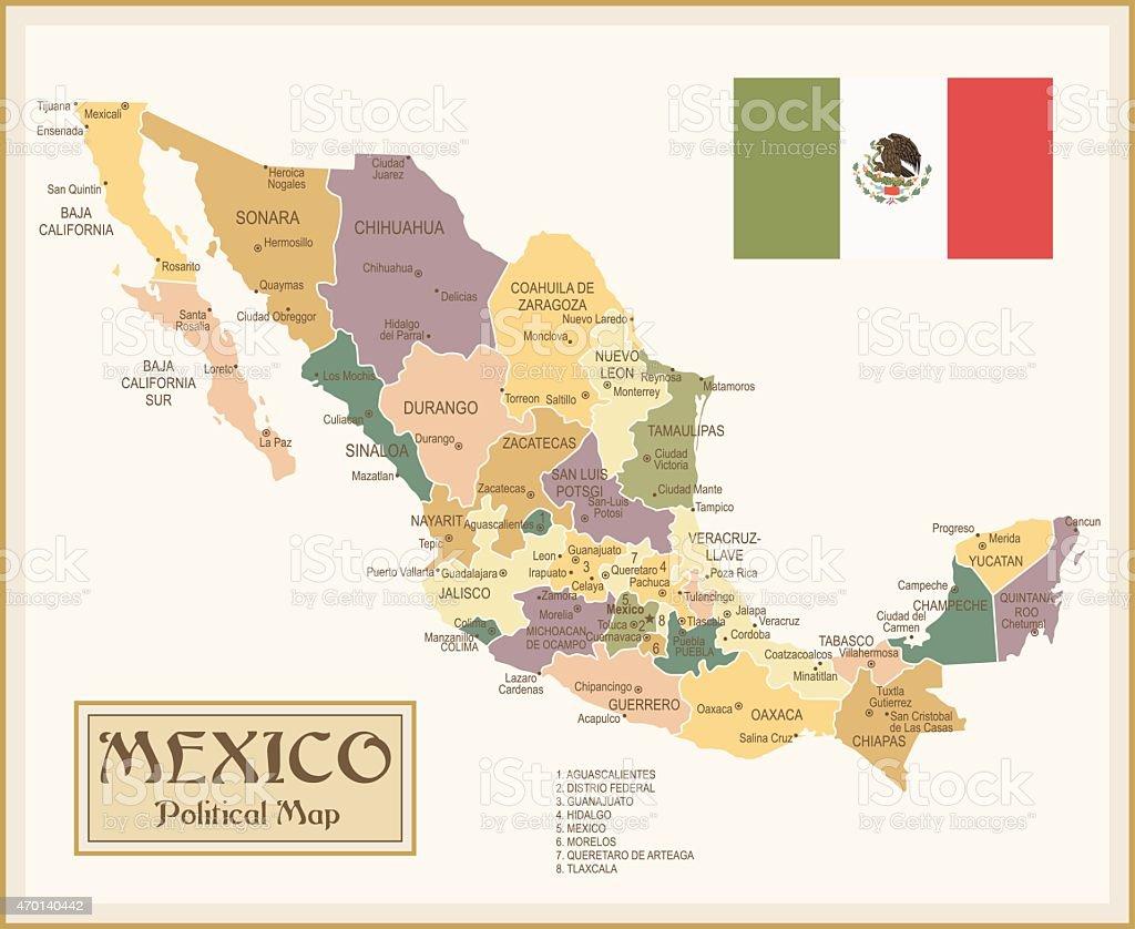 Vintage Mapa de México - ilustración de arte vectorial