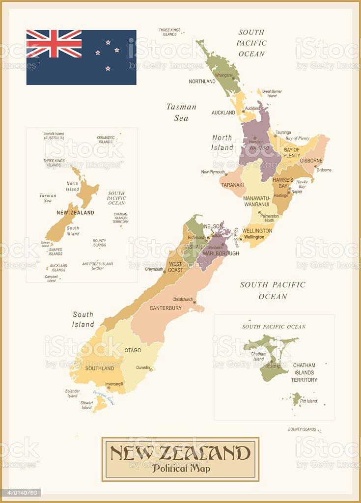 Vintage Map of New Zealand vector art illustration