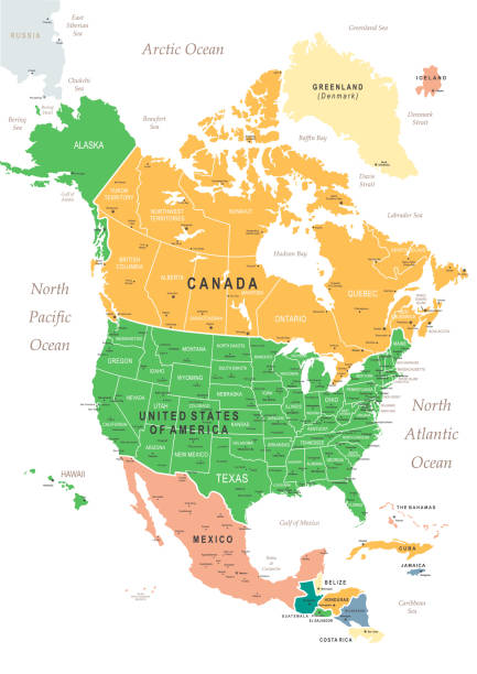 vintage map of north america - north america maps stock illustrations, clip art, cartoons, & icons
