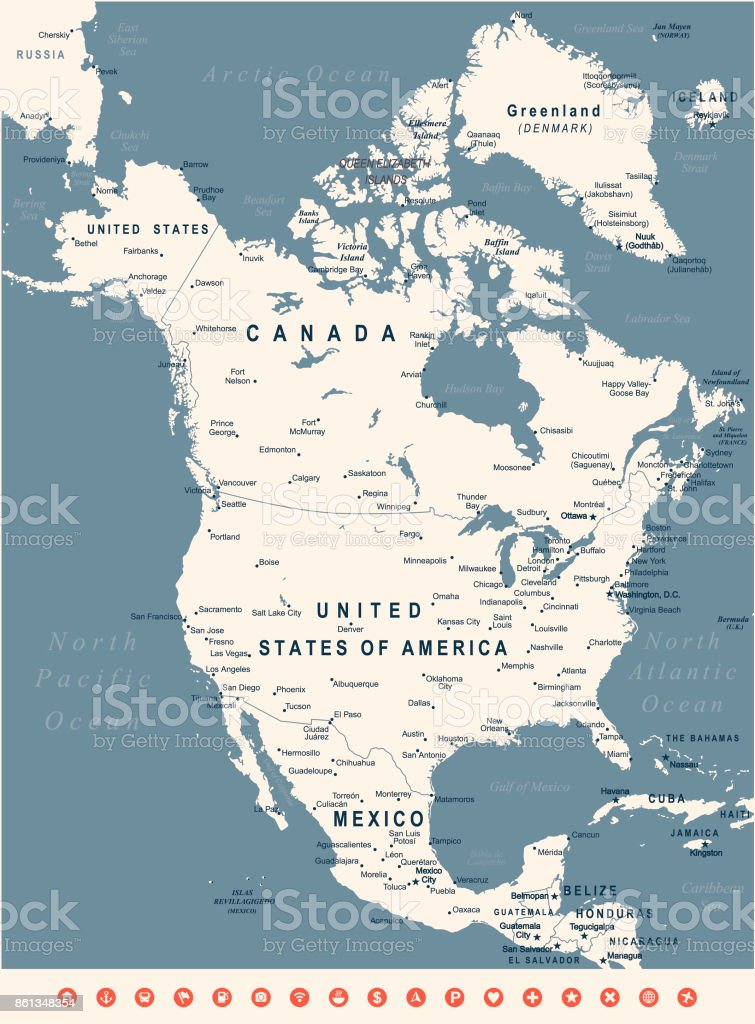 State Map Of North America.Vintage Map Of North America Vector Illustration Stock Vector Art