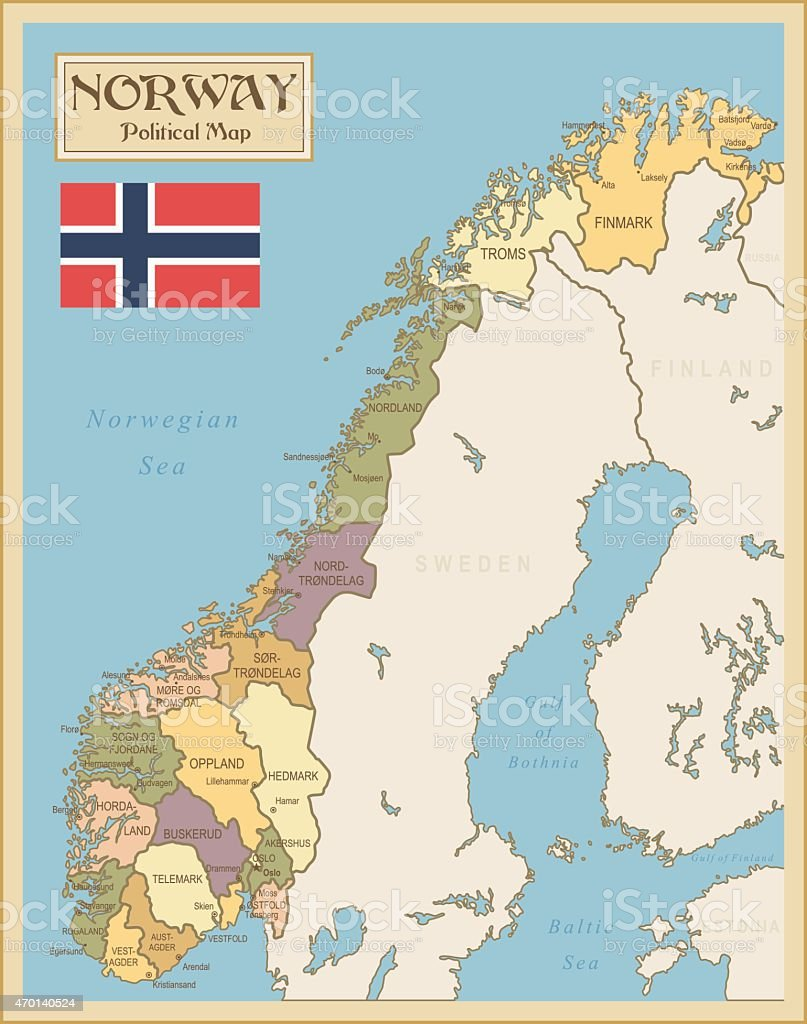 Vintage Map Of Norway Stock Vector Art IStock - Norway map alesund