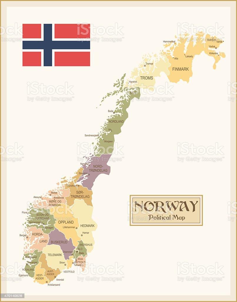 Vintage Map Of Norway Stock Vector Art IStock - Norway map hd