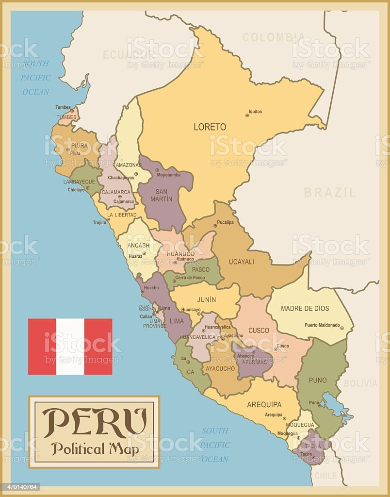 Vintage Map Of Peru Stock Illustration - Download Image Now ...