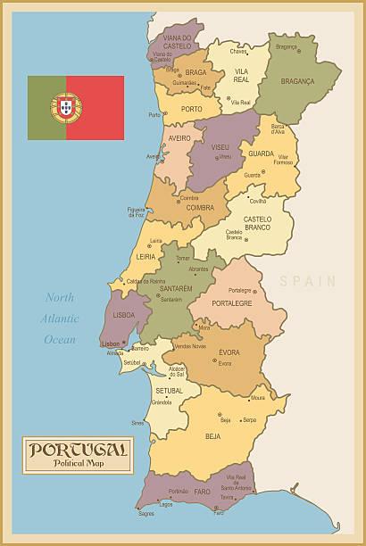 Vintage mapa de Portugal - ilustração de arte vetorial