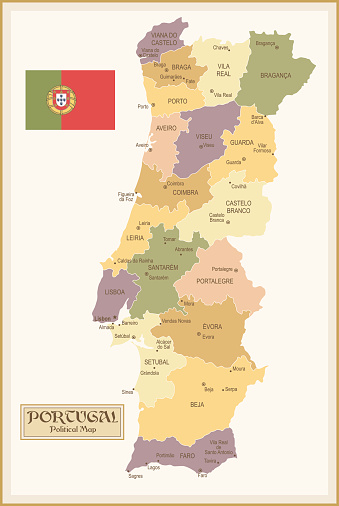 Vintage Map of Portugal