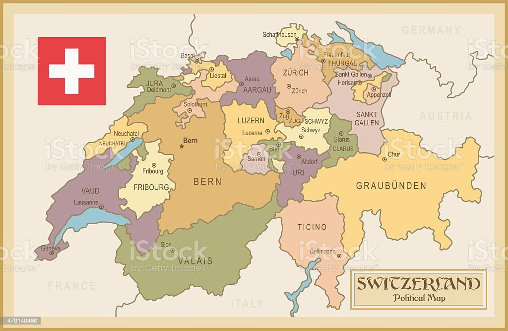 Vintage Map Of Switzerland Stock Vector Art More Images of 2015