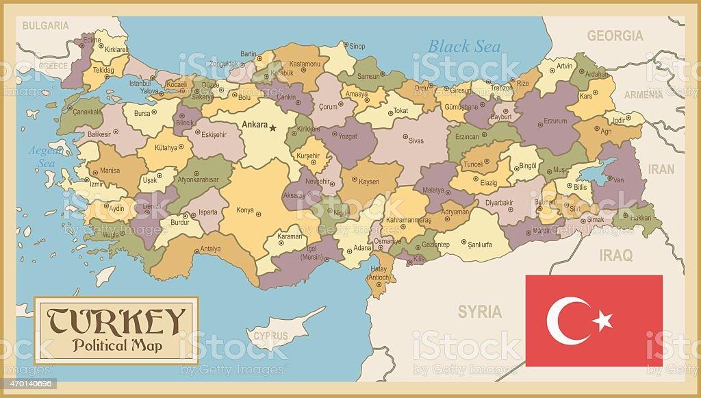Karta Europa Turkiet.Vintage Map Of Turkey Vektorgrafik Och Fler Bilder Pa 2015 Istock