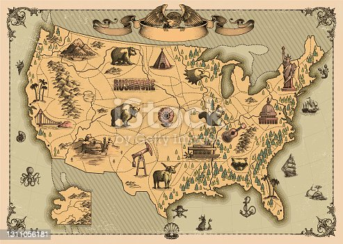 Antique  map of The United States of America