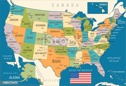 USA vintage map with Hawaii, Texas, Florida and California states