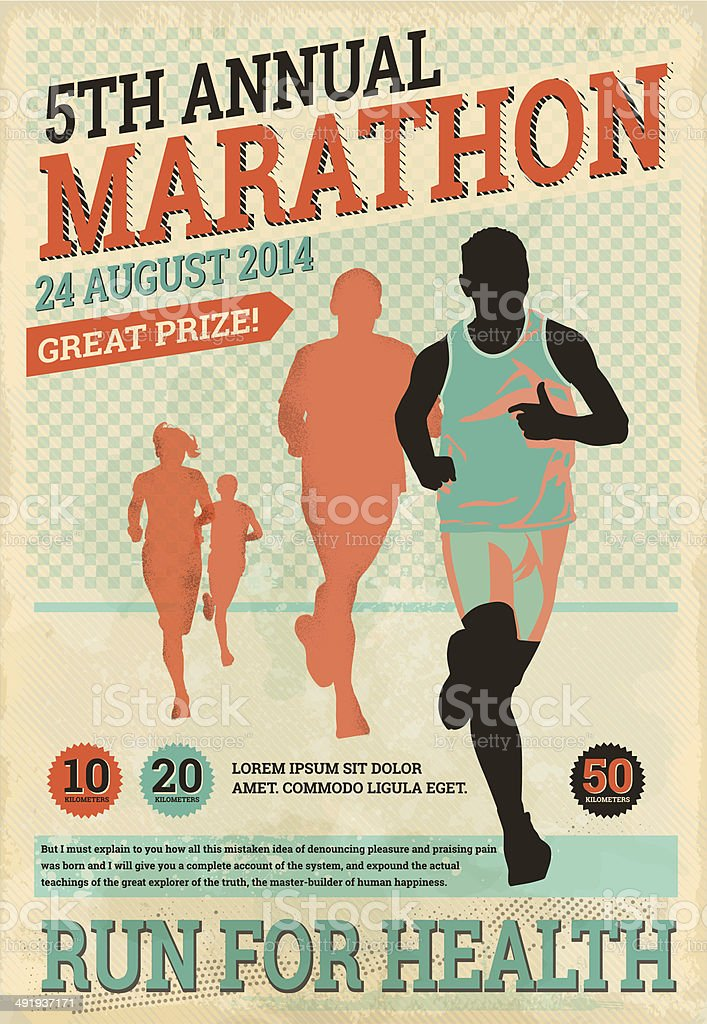 Vintage Marathon Runners vector art illustration