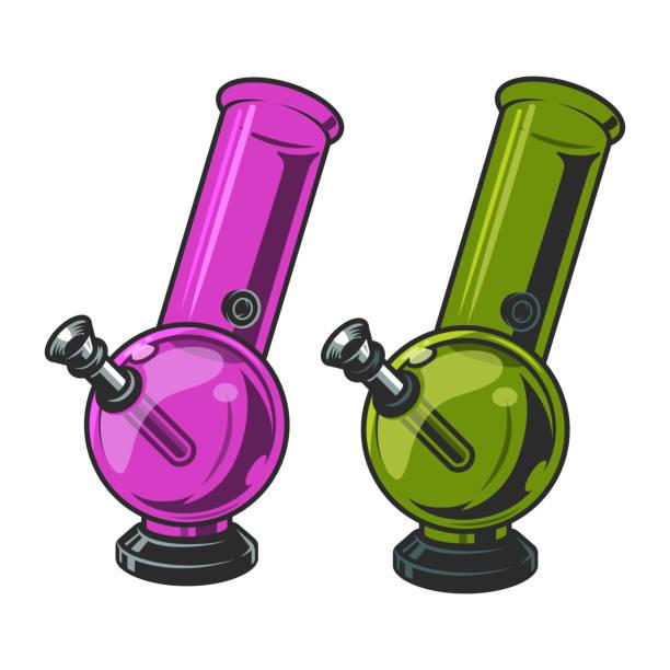bildbanksillustrationer, clip art samt tecknat material och ikoner med vintage marijuana bongs mall - water pipes