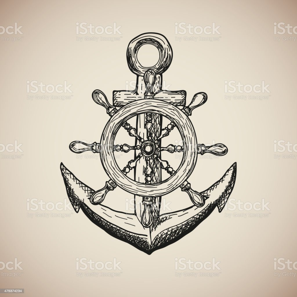 Vintage Marine Anchor with Steering Wheel isolated engrave. Vector vector art illustration