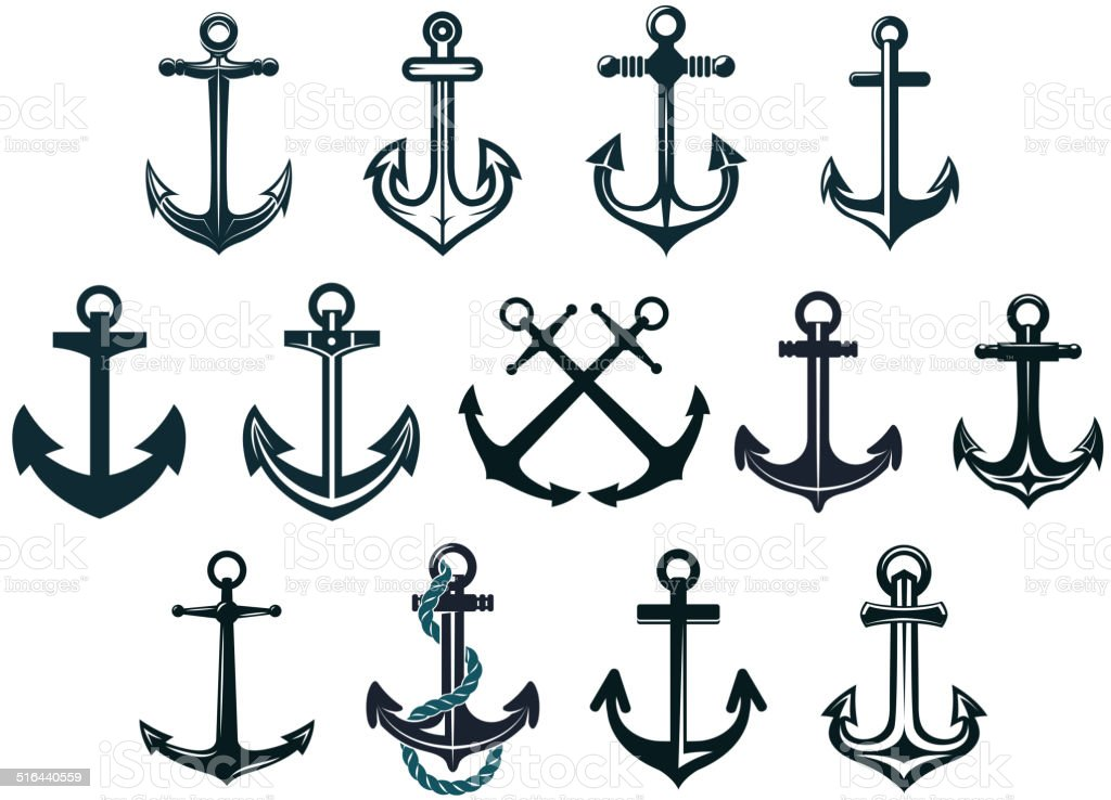 Vintage marine anchors vector art illustration