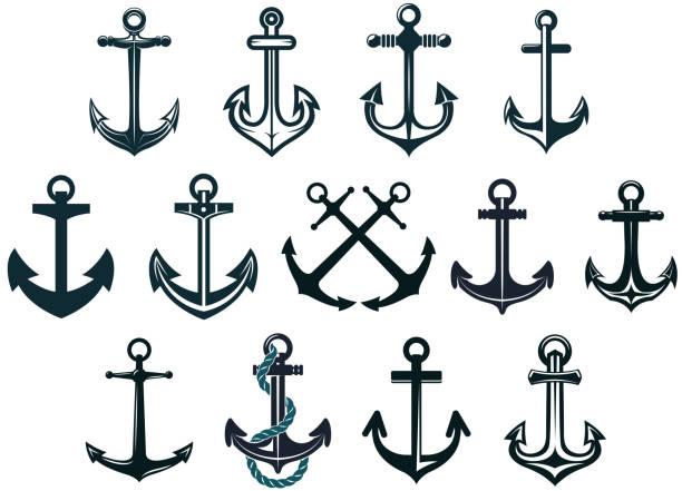 ilustraciones, imágenes clip art, dibujos animados e iconos de stock de vintage anclajes marina - tatuajes náuticos