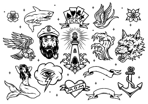 Vintage marine and nautical tattoos set