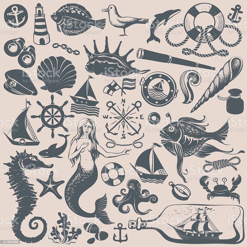 Vintage Marine Clip-art vector art illustration