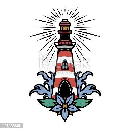 Vintage marine colorful tattoo concept