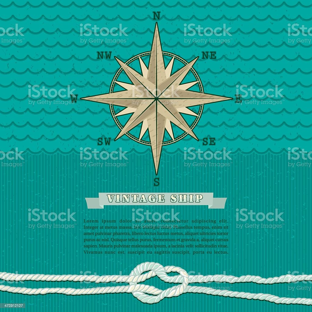Vintage Marine Compass Background royalty-free stock vector art