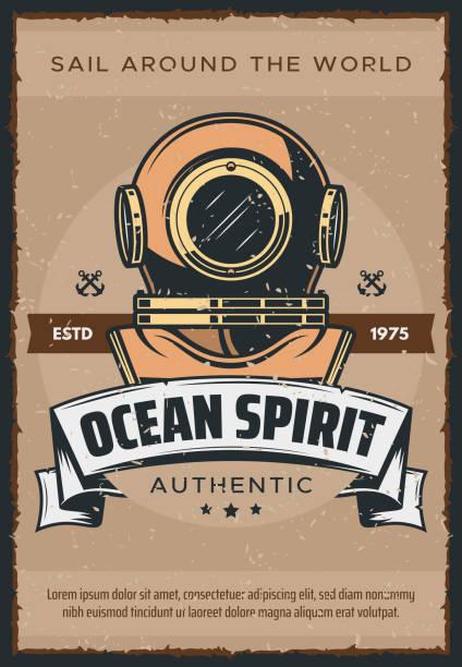 illustrazioni stock, clip art, cartoni animati e icone di tendenza di vintage marine diver helmet poster - frogman