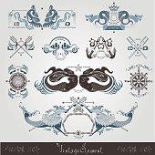 Vintage marine engraving labels with mermaid and marine elements