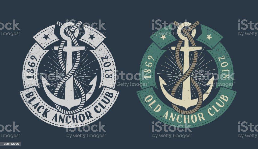 Vintage marine icon vector art illustration