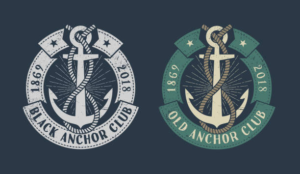 ilustraciones, imágenes clip art, dibujos animados e iconos de stock de icono de marino vintage - tatuajes náuticos