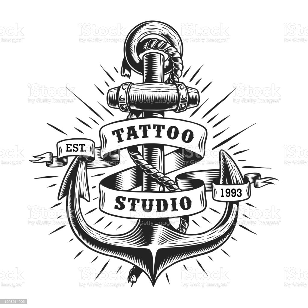 Étiquette vintage tatouage marine - Illustration vectorielle