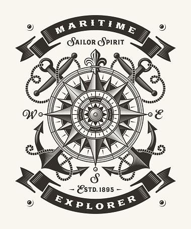 Vintage Maritime Explorer Typography (One Color)