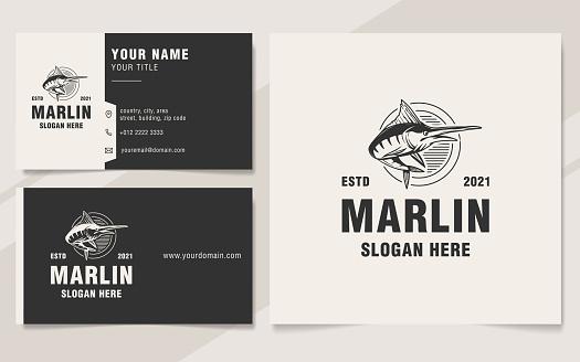 Vintage marlin logo template monogram style