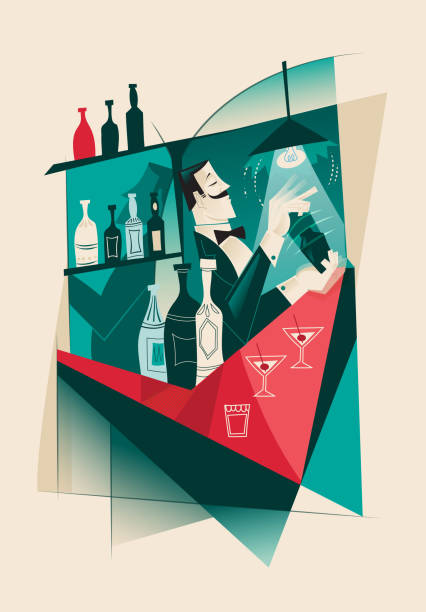 Vintage Martini Cocktail Bartender - Cubism artwork - illustrazione arte vettoriale