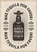 Vintage mas tequila por favor typography, t-shirt and label graphics with bottle. Editable EPS10 vector illustration in woodcut style.