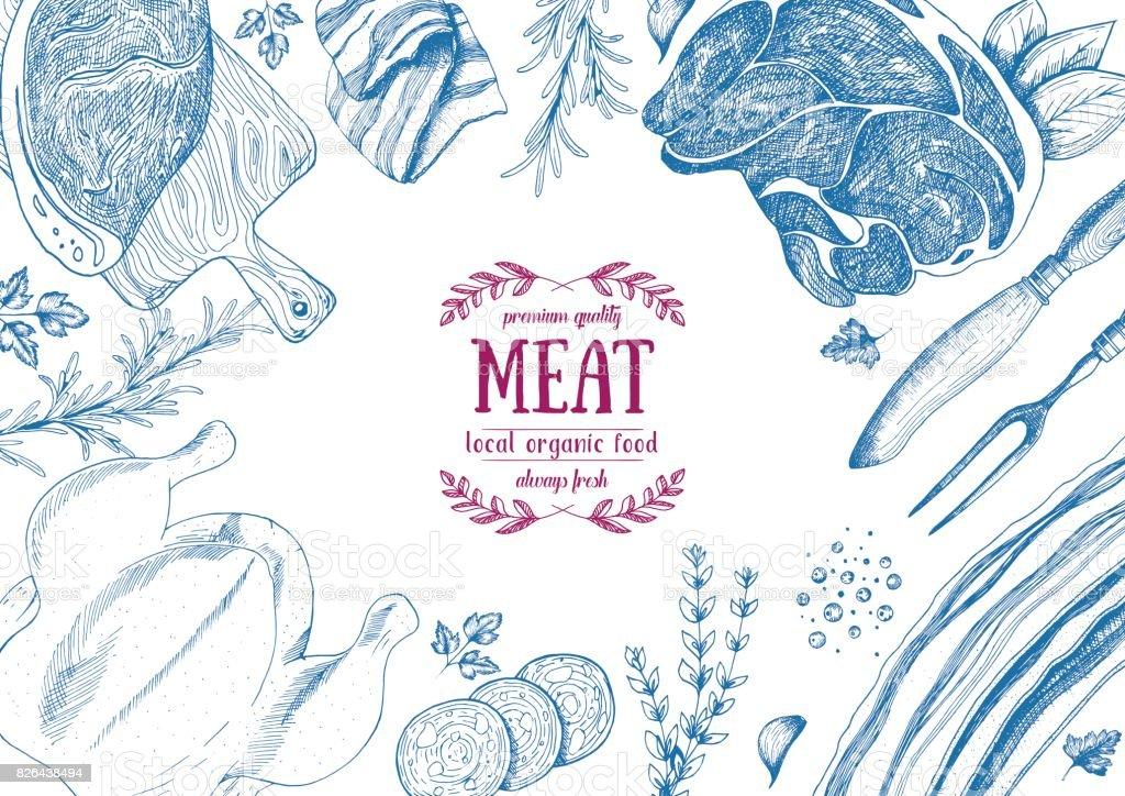 Vintage meat frame. Vector illustration. Linear graphic design. Hand drawn illustration. Meat design template. vector art illustration