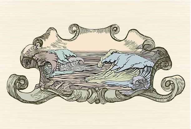 Vintage medallion with color water waves vector art illustration