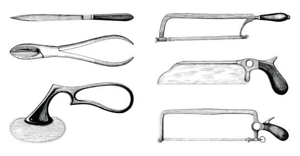 Vintage medical amputation set hand drawing engraving style vector art illustration